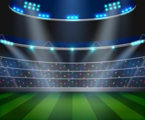 Football arena field with bright stadium lights design. Vector illustration