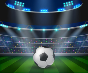 Soccer ball on green stadium, arena in night illuminated bright spotlights.vector illustration