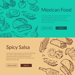 Vector banner with mexican food elements
