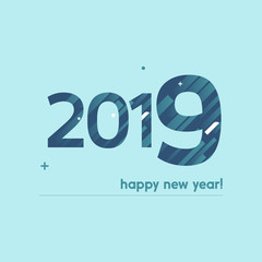 Happy New Year 2019 Vector Illustration - Bold Text with Creative Design on Bright Background -  White and Blue Lines, Circles, Plus Sign