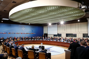 NATO defence ministers attend a meeting at the Alliance headquarters in Brussels