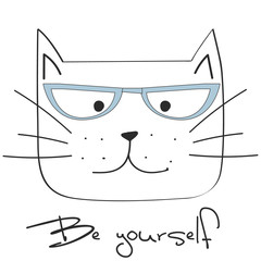 cool cat, vector illustration, hand drawn cat with glasses
