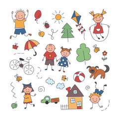 Children in the village. Set of elements in doodle and cartoon style