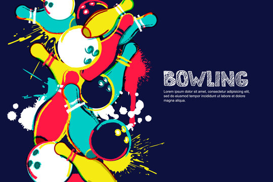Vector bowling horizontal dark background. Abstract watercolor illustration. Bowling ball, pins and sketched letters on colorful splash background. Design elements for banner, poster or flyer.