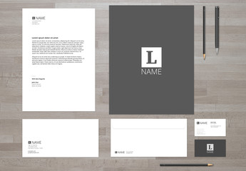 Gray and White Stationery Set Mockup 1