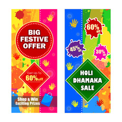 Happy Holi festival of colors Deal and Offer background for holiday of India