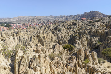 Stone formations in Valle de la Luna (Moon Valley) near La Paz, Bolivia