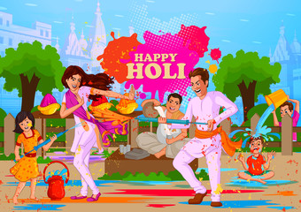 Happy Holi festival of colors background for holiday of India