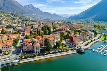 Porlezza (IT) - Vista aerea dal Lago di Lugano verso Menaggio