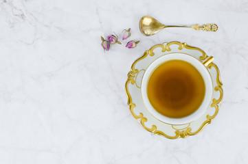 Old porcelain teacup, top view