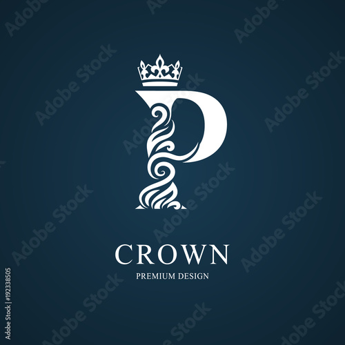 Elegant Letter P With Crown Graceful Royal Style Calligraphic