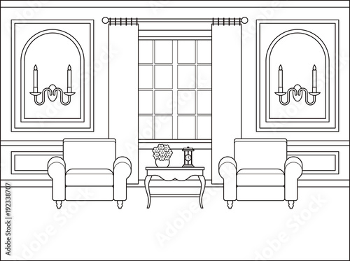 Room Interior Vector Outline Living Room Coloring Page