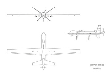 Outline image of military drone. Top, front and side view. Army aircraft for intelligence and attack Wall mural