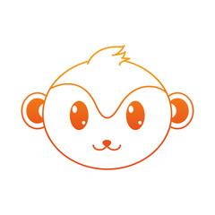 orange line monkey head cute animal character