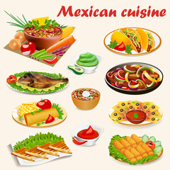 Illustration of a set of Mexican cuisine dishes with soup, dorado fish, buritos, envelopes de poyo, empanadiyas and sauces