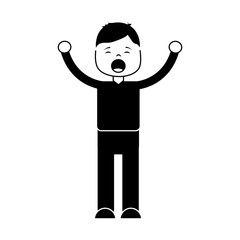 man screaming icon image vector illustration design  black and white