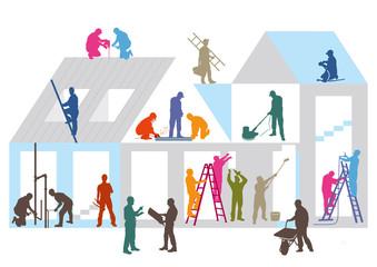 Baustelle mit Bauhandwerkern