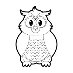 outline owl cute wild animal character