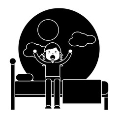 child girl sleeping in their room icon image vector illustration design  black and white
