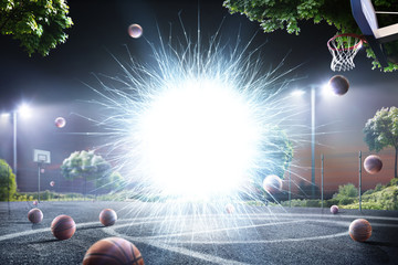 Abstract streetball court background in lights