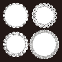 Illustration of lace patterns. / Paper coaster.