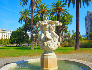 Triton Fountain in Nice, in Albert Park 1, next to the Promenade des Anglais, the French rvera, Cote d'Azur, Nice, France