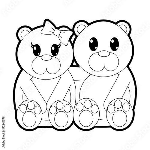 outline bear couple cute animal together - Outline Of A Bear