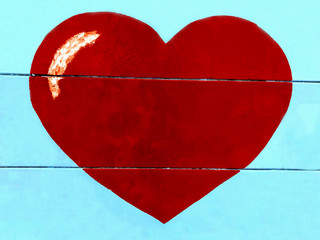 The big red heart on a blue background. Valentines day