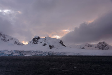 Antarctic landscape with mountains view from sea