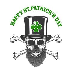 Happy saint patrick day. Irish Leprechaun skull with clover. Design element for poster, t-shirt, emblem, sign.