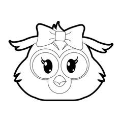 outline female owl head cute animal