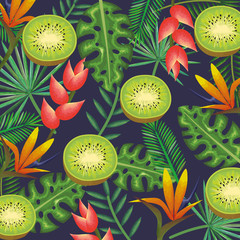 tropical garden with kiwi vector illustration design fruits, leaves and flowers, summer and exotic concept