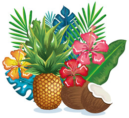 tropical garden with pineapple and coconut vector illustration design fruits, leaves and flowers, summer and exotic concept
