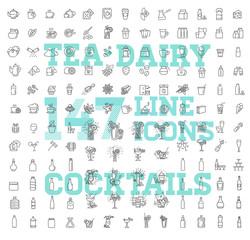 147 drinks thin vector icon set