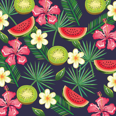 tropical garden with watermelon and kiwi vector illustration design fruits, leaves and flowers, summer and exotic concept