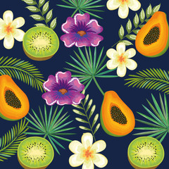 tropical garden with kiwi and papaya vector illustration design fruits, leaves and flowers, summer and exotic concept