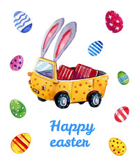 Watercolor hand drawn illustration of easter car with bunny ears and eggs for cards and posters