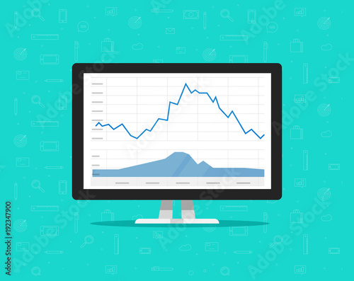 Computer with stocks graphs vector illustration, flat cartoon