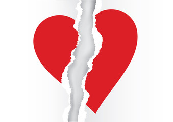 Red heart symbol on white ripped paper.