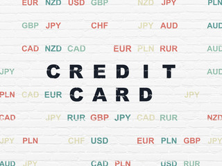 Banking concept: Painted black text Credit Card on White Brick wall background with Currency