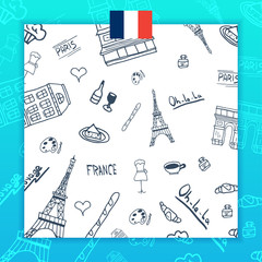 France and Paris travel banner. With flat and doodle elements. Doodles background. Vector illustration