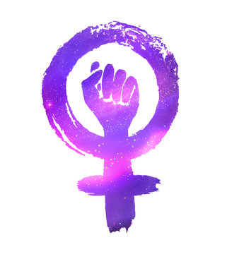 Feminism protest symbol with outer space