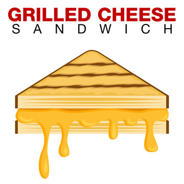Grilled Cheese Sandwich Dripping Melting Cheese Isolated on White