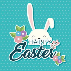 cute rabbit happy easter celebration vector illustration design