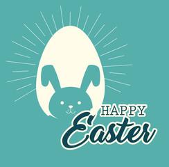 cute rabbit happy easter celebration vector illustration design
