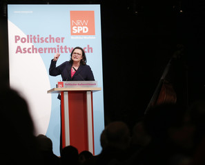 Nahles of Social Democratic Party (SPD) delivers a speech during the traditional Ash Wednesday party meeting in Schwerte