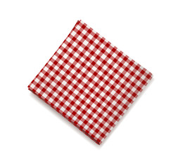 Red napkin on a white background. Plaid gingham tablecloth for cafe and restaurant design