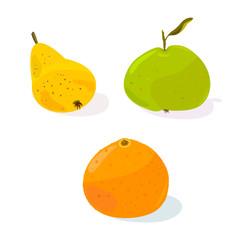 Set of fruits: pear, apple and orange.