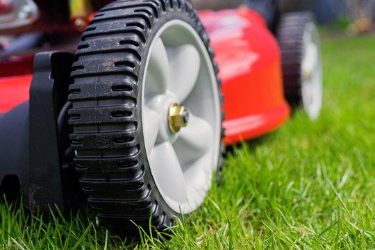 Lawn mower details close up.