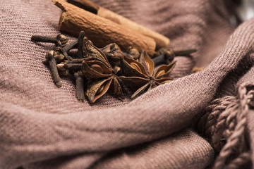Anise stars, cinnamon and carnation on soft brown cloth